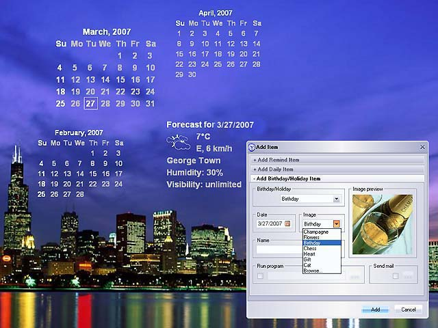 Talking calendar for any reminders, weather forecast and many other functions.